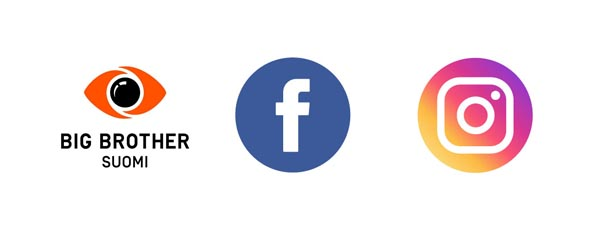 Big Brotherin, Facebookin ja Instagramin logot. Kuva: © 2019 Nelonen Media, Facebook ja Instagram / Saragnzalez / Freepik.com