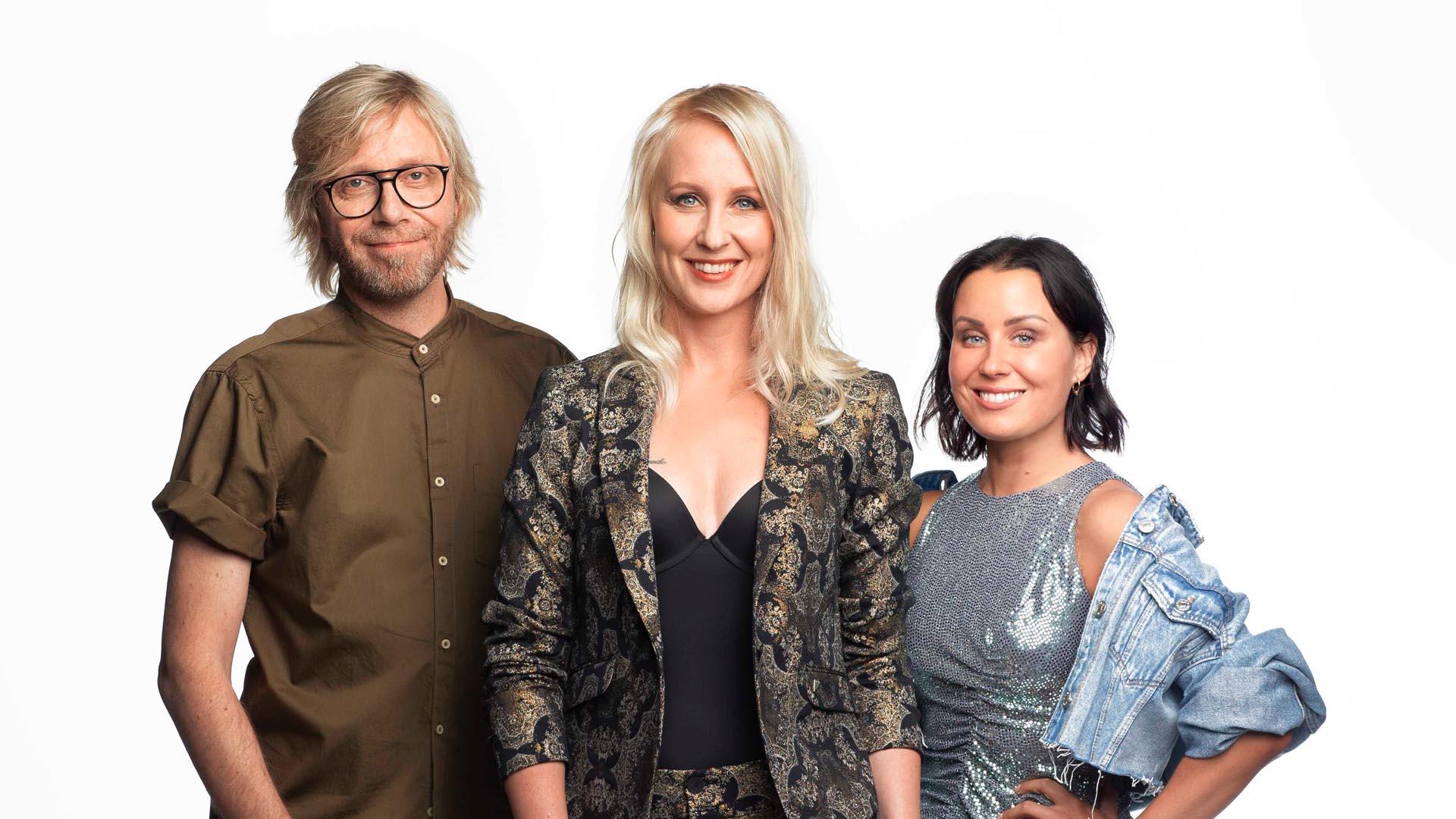 Kimmo, Elina ja Alma jatkavat BB-juontajina myös syksyllä 2020. Kuva: © 2019 Jan Lönberg / Nelonen Media.